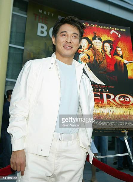 """Actor Jet Li arrives at the premiere of Miramax's """"Hero"""" at the Arclight Theater on August 17, 2004 in Los Angeles, California."""