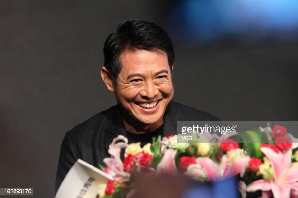 Actor Jet Li attends Aux promotional event at Shangri-La Hotel on February 28, 2013 in Ningbo, China.