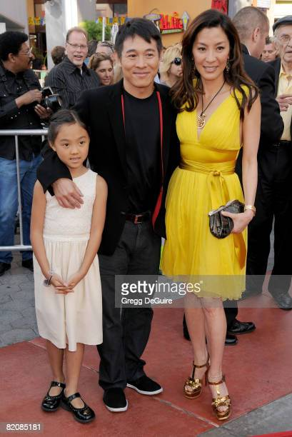 Actor Jet Li daughter Jane and Actress Michelle Yeoh arrive at the American Premiere of The Mummy Tomb Of The Dragon Emperor at the Gibson...