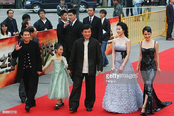 Actor Jet Li Jet Li's daughter actor Jackie Chan actress Crystal Liu and actress Li Bingbing attend the world premiere Of The Forbidden Kingdom on...