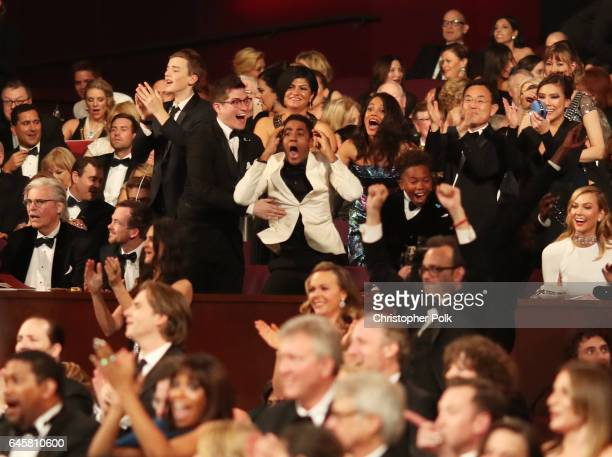 Actor Jharrel Jerome and The cast of Moonlight attend the 89th Annual Academy Awards at Hollywood Highland Center on February 26 2017 in Hollywood...
