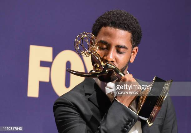TOPSHOT US actor Jharrel Jerome poses with the Emmy for Outstanding Lead Actor in a Limited Series or Movie award for When They See Us during the...