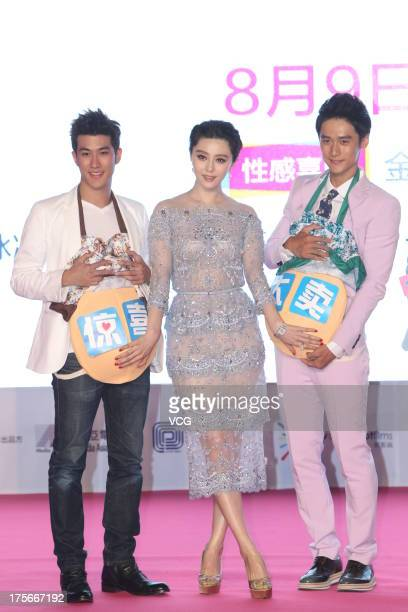 Actor Jiang Jinfu actress Fan Bingbing and actor Aarif Lee attend 'One Night Surprise' premiere at China World Summit Wing on August 5 2013 in...