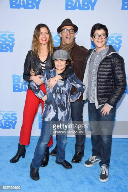 Actor Jill Hennessy Gianni Mastropietro Paolo Mastropietro and Marco Mastropietro attend The Boss Baby New York Premiere at AMC Loews Lincoln Square...