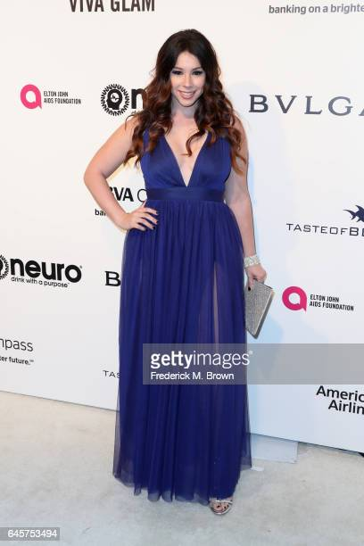 Actor Jillian Rose Reed attends the 25th Annual Elton John AIDS Foundation's Academy Awards Viewing Party at The City of West Hollywood Park on...