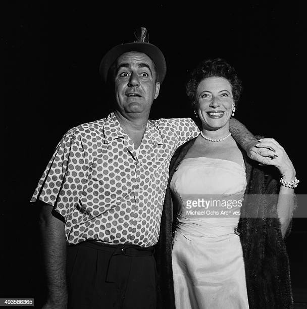 LOS ANGELES CALFORNIA SEPETMBER 15 1956 Actor Jim Backus attends a show with his wife Henny at the Hollywood Bowl in Los Angeles California
