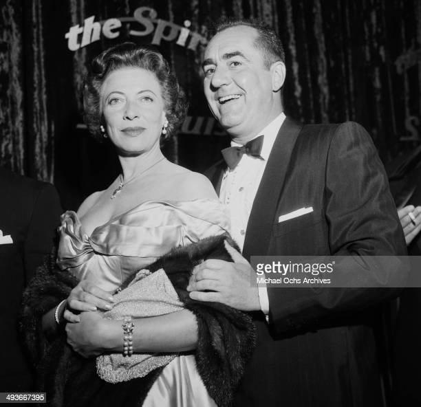 Actor Jim Backus with his wife Henny attend the premier of The Spirit of StLouis in Los Angeles California