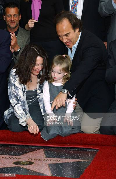 Actor Jim Belushi daughter Jamison and Judy Belushi Pisano attend the ceremony posthumously honoring actor/comedian John Belushi with a star on the...