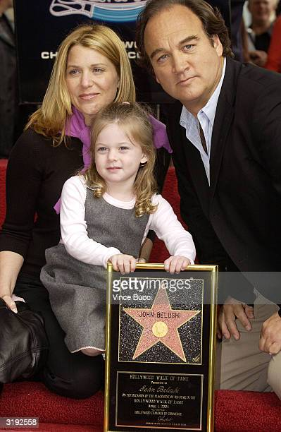 Actor Jim Belushi wife Jenny and daughter Jamison attend the ceremony posthumously honoring his brother actor/comedian John Belushi with a star on...
