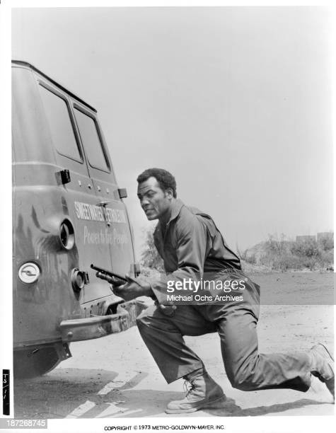 Actor Jim Brown on set of the MGM movie The Slams in 1973