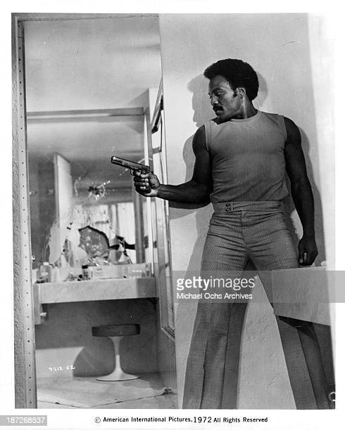 Actor Jim Brown on set of the movie Slaughter in 1972