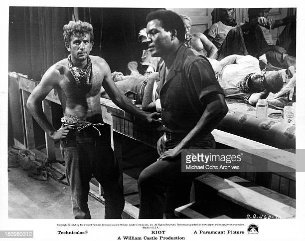 Actor Jim Brown on set of the Paramount Pictures movie Riot in 1969