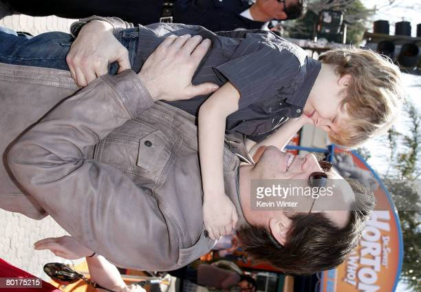 """Actor Jim Carrey and Evan Asher, son of actress Jenny McCarthy, arrive at the world premiere of 20th Century Fox's """"Horton Hears a Who!"""" at the Mann..."""
