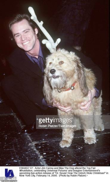 Actor Jim Carrey and Max The Dog attend the Toy Fair Whobilation celebrating Universal Pictures'' and Imagine Entertainment's upcoming liveaction...