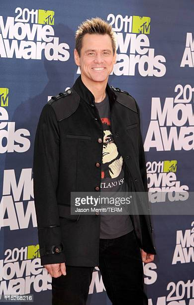 Actor Jim Carrey arrives at the 2011 MTV Movie Awards at Universal Studios' Gibson Amphitheatre on June 5 2011 in Universal City California