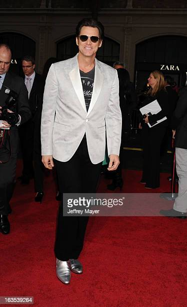 Actor Jim Carrey arrives at the 'The Incredible Burt Wonderstone' Los Angeles Premiere at TCL Chinese Theatre on March 11 2013 in Hollywood California