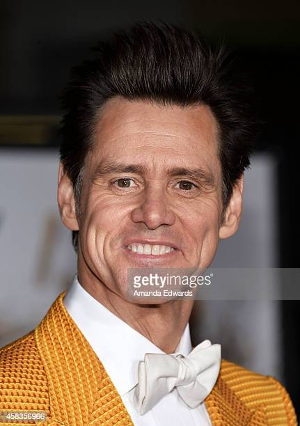 Actor Jim Carrey arrives at the world premiere of 'Dumb And Dumber To' at the Regency Village Theatre on November 3 2014 in Westwood California