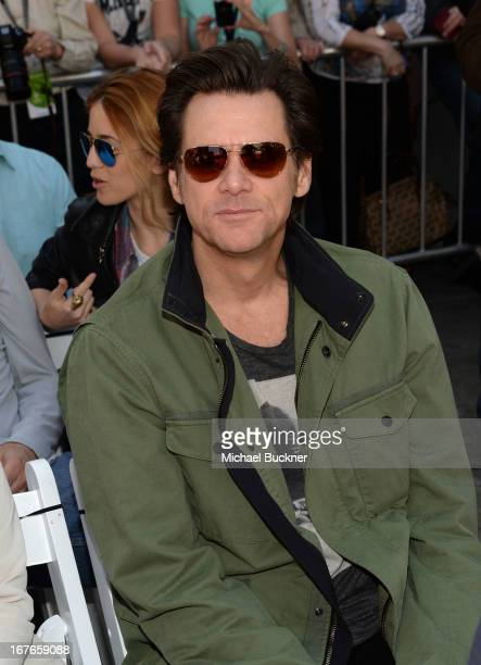 Actor Jim Carrey attends actress Jane Fonda's Handprint/Footprint Ceremony during the 2013 TCM Classic Film Festival at TCL Chinese Theatre on April...