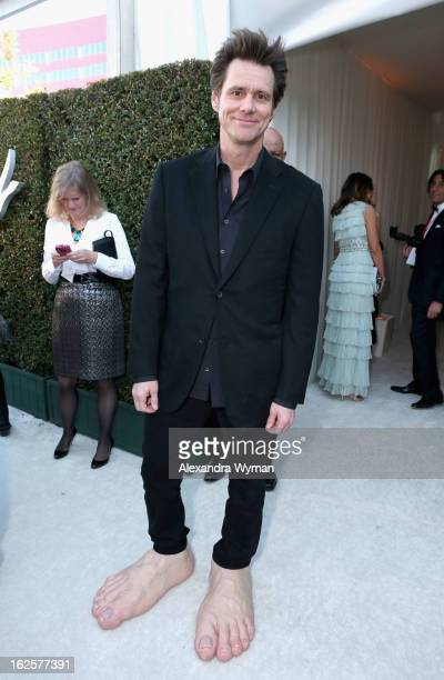 Actor Jim Carrey attends Grey Goose at 21st Annual Elton John AIDS Foundation Academy Awards Viewing Party at West Hollywood Park on February 24 2013...