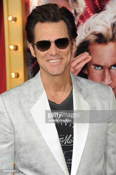 Actor Jim Carrey attends 'The Incredible Burt Wonderstone' Los Angeles premiere held at TCL Chinese Theatre on March 11 2013 in Hollywood California