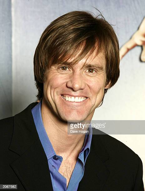 Actor Jim Carrey attends the Press Conference and Photocall for his new film Bruce Almighty at the Dorchester Hotel on June 9 2003 in London