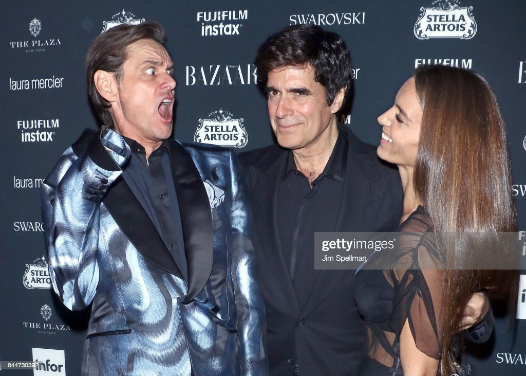 Actor Jim Carrey, David Copperfield and Chloe Gosselin attend the 2017 Harper's Bazaar Icons at The Plaza Hotel on September 8, 2017 in New York City.