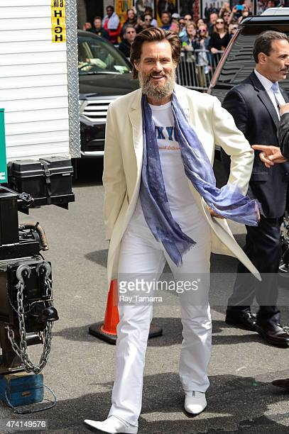 """Actor Jim Carrey enters the """"Late Show With David Letterman"""" taping at Ed Sullivan Theater on May 20, 2015 in New York City."""