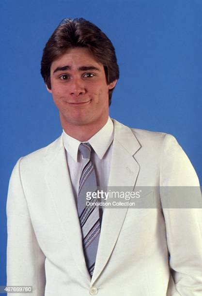 Actor Jim Carrey impersonates Michael Landon as he poses for a portrait session in circa 1992 in Los Angeles California