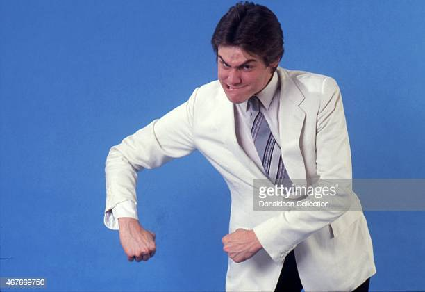 Actor Jim Carrey impersonates Popeye as he poses for a portrait session in circa 1992 in Los Angeles California