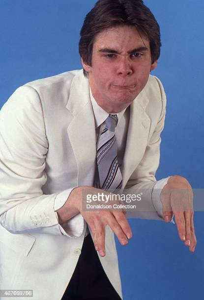 Actor Jim Carrey impersonates Yoda as he poses for a portrait session in circa 1992 in Los Angeles California