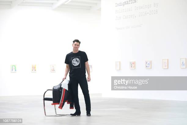 Actor Jim Carrey is photographed for Los Angeles Times on October 21 2018 at his gallery show in Los Angeles California PUBLISHED IMAGE CREDIT MUST...