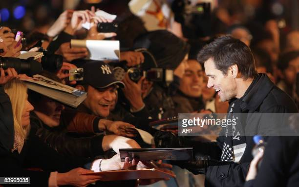 """Actor Jim Carrey lays on the red carpet at the world premiere of the new film, """"Yes Man"""" at the Vue cinema in Leicester Sqaure, London on December 9,..."""