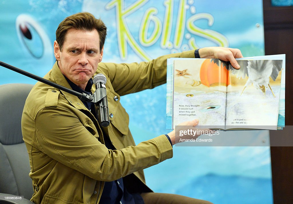 Actor Jim Carrey reads from his new children's book 'How Roland Rolls' at Barnes & Noble bookstore at The Grove on October 26, 2013 in Los Angeles, California.