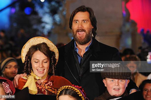 Actor Jim Carrey sings with the choir the World Film Premiere of Disney's 'A Christmas Carol' at the Odeon Leicester Square on November 3 2009 in...