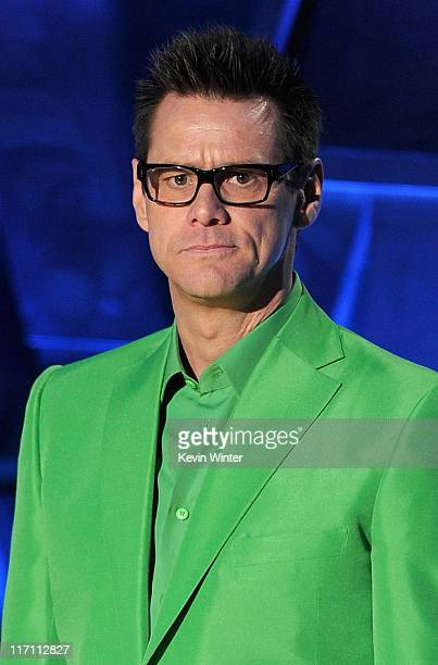 Actor Jim Carrey speaks onstage during the 2011 MTV Movie Awards at Universal Studios' Gibson Amphitheatre on June 5 2011 in Universal City California