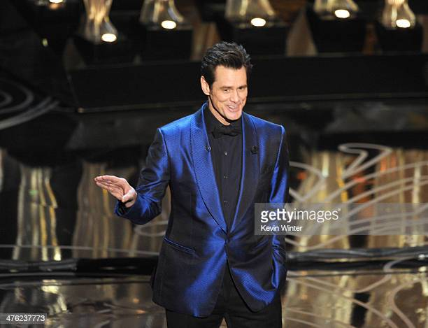 Actor Jim Carrey speaks onstage during the Oscars at the Dolby Theatre on March 2 2014 in Hollywood California