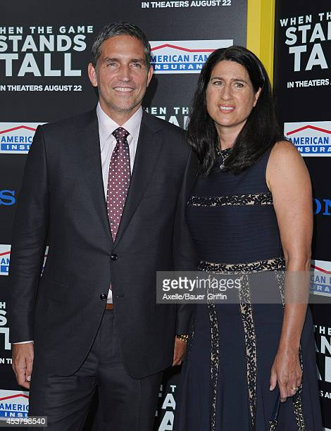 Actor Jim Caviezel and Kerri Browitt Caviezel attend the Los Angeles premiere of 'When The Game Stands Tall' at ArcLight Hollywood on August 4, 2014...