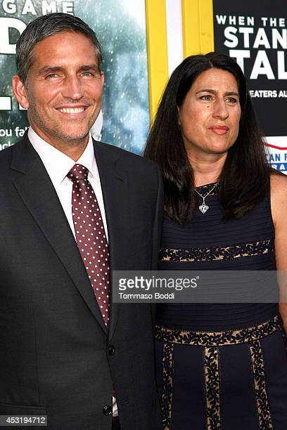 """Actor Jim Caviezel and Kerri Browitt Caviezel attend the """"When The Game Stands Tall"""" Los Angeles premiere held at the ArcLight Hollywood on August 4,..."""