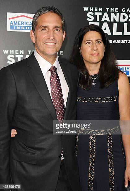 """Actor Jim Caviezel and wife Kerri Browitt Caviezel attend the premiere of """"When The Game Stands Tall"""" at ArcLight Hollywood on August 4, 2014 in..."""