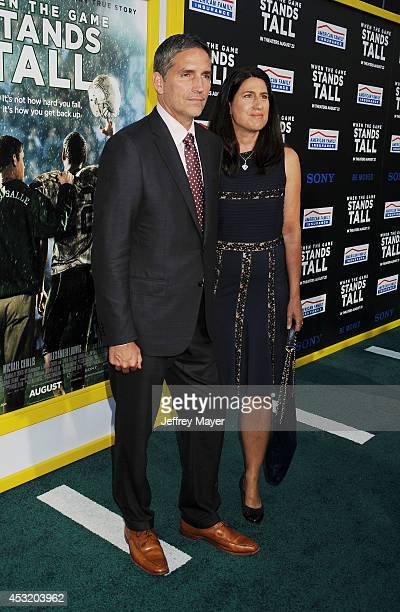 Actor Jim Caviezel and wife Kerri Browitt Caviezel attend the 'When The Game Stands Tall' Los Angeles premiere held at the ArcLight Hollywood on...