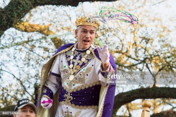 Actor Jim Caviezel reigns as King of Bacchus XLIXI in the 2017 Krewe Of Bacchus parade on February 26 2017 in New Orleans Louisiana