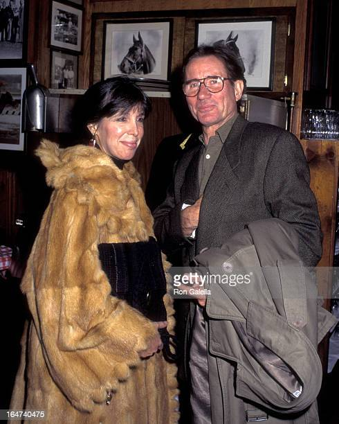 Actor Jim Dale and wife Julia Schafler attend the opening of Uncle Vanya on February 23 1995 at the Circle In The Square Theater in New York City