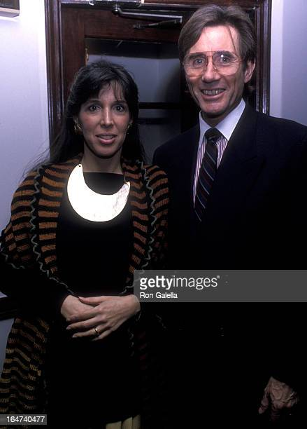 Actor Jim Dale and wife Julia Schafler attend the opening party for Hall Of Fame on April 18 1989 at Letizia Restaurant in New York City
