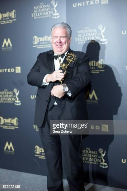 Actor Jim O'Heir displays his Emmy Award at the 44th Annual Daytime Emmy Awards at Pasadena Civic Auditorium on April 30 2017 in Pasadena California