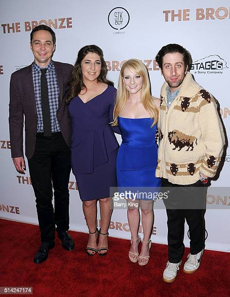 Actor Jim Parsons actress Mayim Bialik actress Melissa Rauch and actor Simon Helberg attend the Premiere of Sony Pictures Classics' 'The Bronze' at...