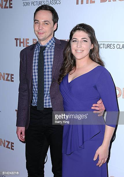 Actor Jim Parsons and actress Mayim Bialik attend the Premiere of Sony Pictures Classics' 'The Bronze' at SilverScreen Theater at the Pacific Design...