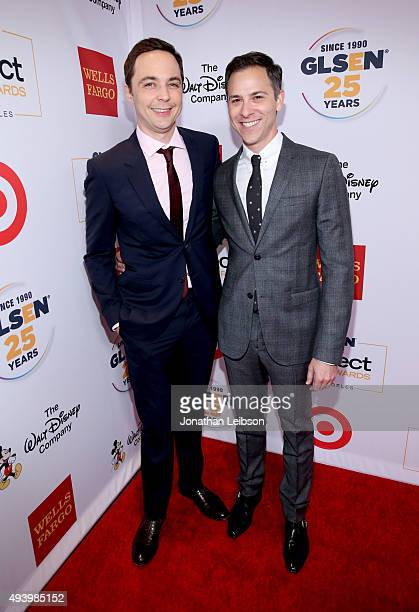 Actor Jim Parsons and art director Todd Spiewak attend the 2015 GLSEN Respect Awards at the Beverly Wilshire Four Seasons Hotel on October 23 2015 in...