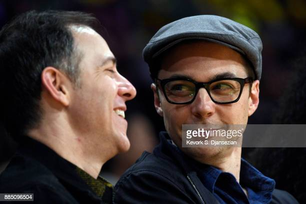 Actor Jim Parsons and spouse Todd Spiewak attend a basketball game between Houston Rockets and Los Angeles Lakers at Staples Center December 3 2017...