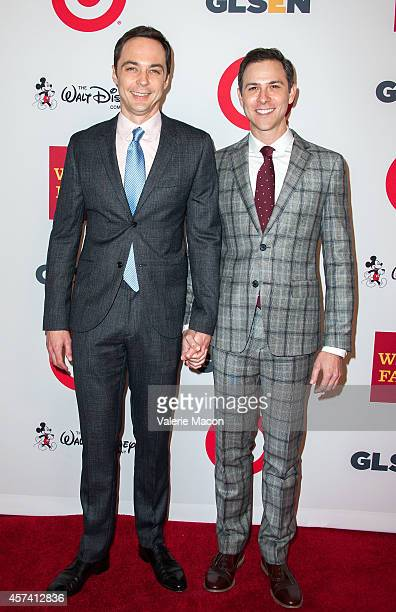 Actor Jim Parsons and Todd Spiewak arrive at the 10th Annual GLSEN Respect Awards at Regent Beverly Wilshire Hotel on October 17 2014 in Beverly...