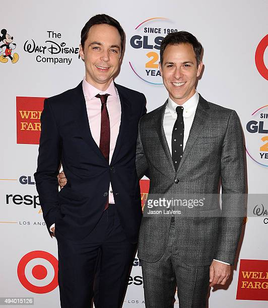 Actor Jim Parsons and Todd Spiewak attend the 2015 GLSEN Respect Awards at the Beverly Wilshire Four Seasons Hotel on October 23 2015 in Beverly...